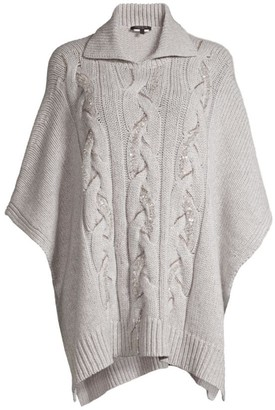 Lafayette 148 New York Cable-Knit Cashmere Sequin Poncho