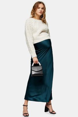 Topshop Womens **Maternity Teal Satin Bias Maxi Skirt - Teal