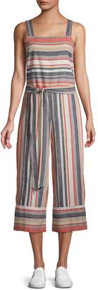 BeachLunchLounge Beach Lunch Lounge Striped Linen & Cotton Blend Jumpsuit