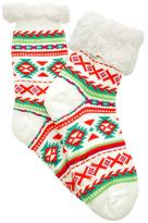 Angelina White Fair Isle Fleece-Lined Slipper Socks