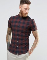 Asos Skinny Buffalo Plaid Shirt In Rust With Short Sleeves