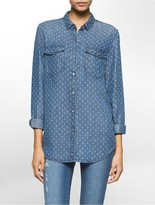 Calvin Klein Boyfriend Fit Multi-Dot Denim Shirt