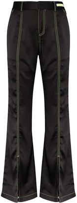Angel Chen Flared Contrast-Stitch Trousers