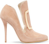 Balmain Buckle-embellished Suede Pumps - Beige
