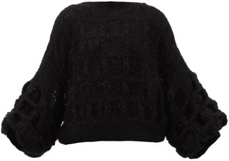 Loewe Balloon-sleeve Cable-knitted Mohair-blend Sweater - Womens - Black