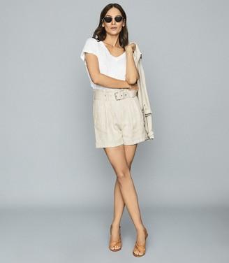 Reiss ROMY Textured linen shorts Neutral