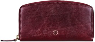 Maxwell Scott Bags Womens Finest Italian Leather Slim Full Zip Purse In Red