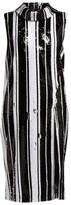 Halpern Sequinned High-neck Midi Dress - Womens - Black White