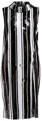 Halpern Sequinned High-neck Midi Dress - Black White
