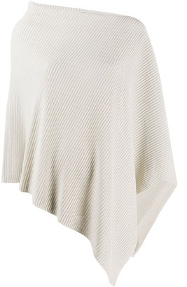 Eileen Fisher Asymmetric Ribbed-Knit Poncho