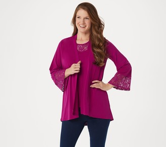 Susan Graver Liquid Knit Cardigan and Tank Set with Lace Trim