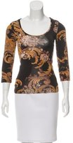 Just Cavalli Three-Quarter Sleeve Abstract Print Top