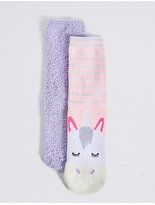 Marks and Spencer 2 Pair of Cotton Rich Unicorn Socks (1-10 Years)