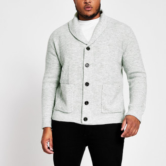 River Island Big and Tall grey knit shawl collar cardigan