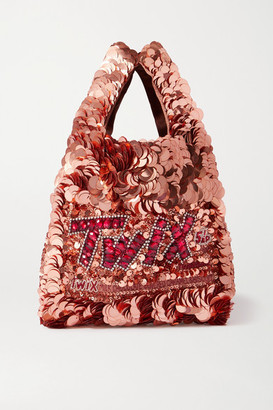 Anya Hindmarch Mini Embellished Sequined Satin Tote - Rose gold