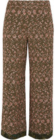 Etro Embroidered Crepe Wide-leg Pants - Army green