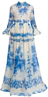 Valentino Floral Silk Collared Gown