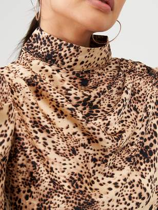 AX Paris Animal Print Puff Sleeve Top - Stone