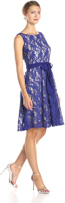 Julian Taylor Women's Sleeveless Lace Fit and Flare Dress with Tie