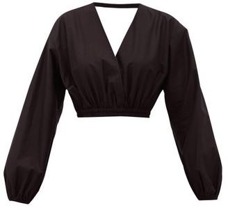 Matteau - Open-back Cropped Cotton Blouse - Womens - Black