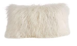 "Saro Lifestyle Wool Mongolian Lamb Fur Throw Pillow, 12"" x 20"""