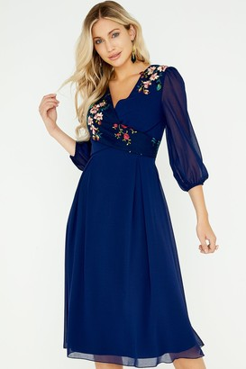 Little Mistress Tara Navy Floral Embroidery Midi Dress