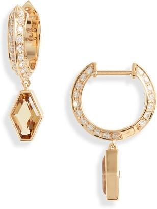Sorellina Pave Garnet Huggie Hoop Earrings