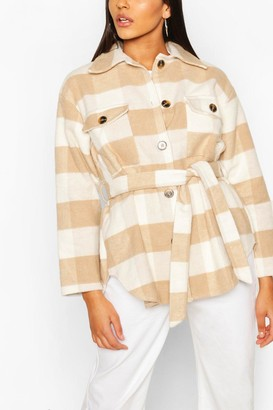 boohoo Tonal flannel Belted Shacket