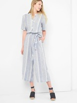 Gap Linen stripe henley jumpsuit