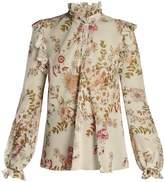 Giambattista Valli Floral-print ruffled silk-georgette blouse