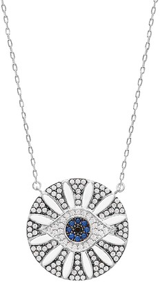 GABIRIELLE JEWELRY Love & Protection Flower Blossom Sterling Silver & Crystal Evil Eye Pendant Necklace