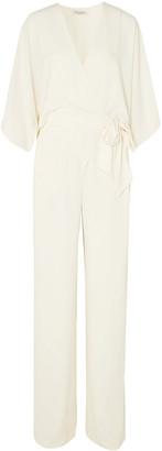 Halston Wrap-effect Layered Crepe Jumpsuit