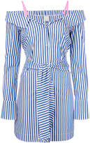 Pinko striped off the shoulder shirt dress