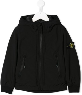 Stone Island Junior Logo Zip-Up Hoodie