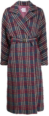 Stella Jean Check Print Belted Wrap Coat