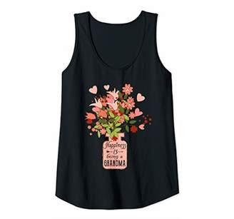 Womens Happiness Is Being Grandma Life - Flower Art-Grandma Tank Top