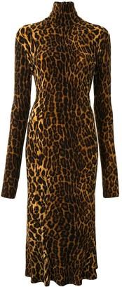 Norma Kamali Leopard-Print Fitted Dress