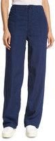 Vince Rinsed-Denim Patch-Pocket Utility Jeans, Navy