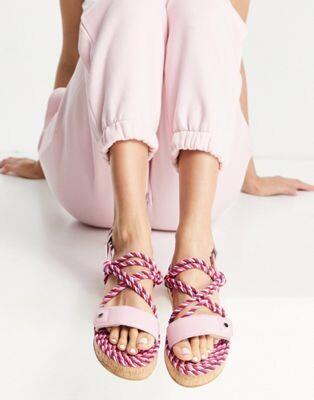 ASOS DESIGN Flamingo rope espadrilles in pink mix
