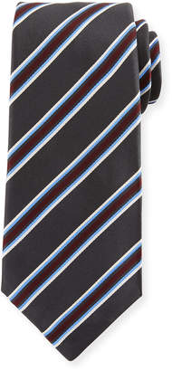 Kiton Framed Satin Stripe Tie, Gray