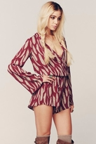 Blue Life New Boho Sleeve Romper in Bordeaux Feather