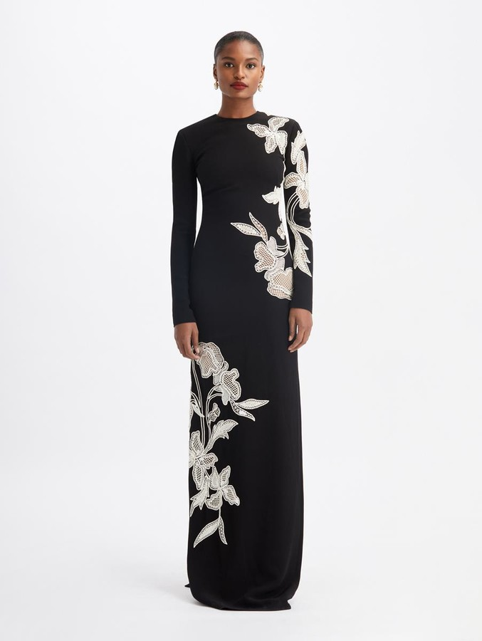 Oscar de la Renta Floral Embroidered Long Sleeves Gown