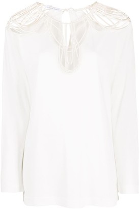 Alberta Ferretti Long-Sleeved Sheer-Panels Blouse