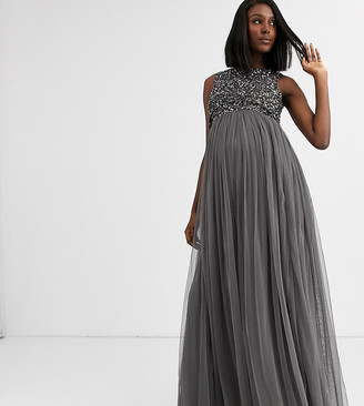 Maya Maternity Bridesmaid delicate sequin 2 in 1 maxi dress in dark gray