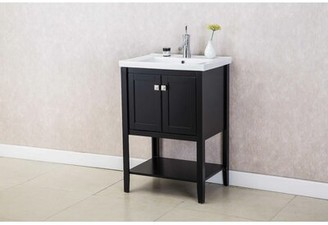 "Wrought Studioâ""¢ Stonge 24"" Single Bathroom Vanity Set Wrought Studioa Base Finish: Espresso"