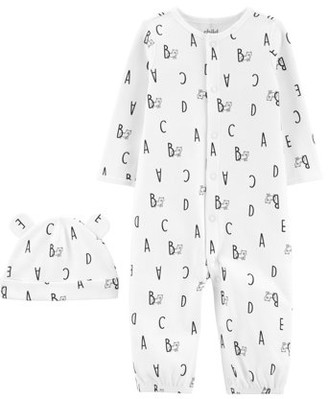 Carter's Child of Mine by Baby Boy or Girl Gender Neutral Long Sleeve Converter Gown and Cap, 2-Piece Outfit Set