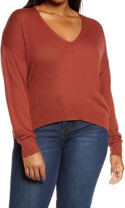BP Rib V-Neck Cotton Blend Sweater