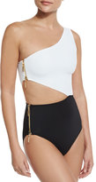 OYE Swimwear Kim Zipper-Detail Colorblock One-Piece Swimsuit