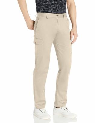 Louis Raphael Men's Khaki Straight Fit Comfort Waist Flat Front Cargo Pant 40W x 32L