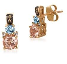 LeVian Le Vian Chocolatier Peach Morganite, Sea Blue Aquamarine, Vanilla Diamonds, Chocolate Diamonds and 14K Strawberry Gold Earrings